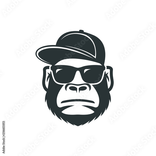 фотография Monkey in sunglasses and a cap. Cool gorilla icon