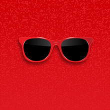 Red Hipster Sunglasses With Da...