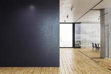 Modern Glass Corridor With Copyspace