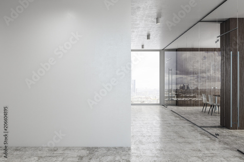 Stampa su Tela Concrete glass corridor with copyspace