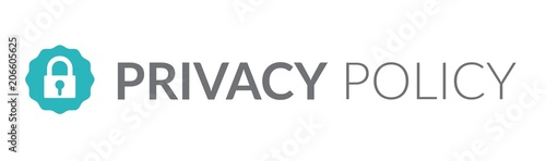 Privacy Policy graphic used for Header banner or web page w the icon symbol Fototapet