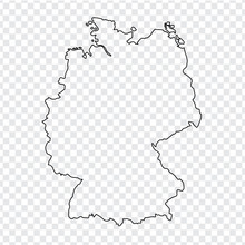 Blank Map Of Germany. Thin Line Germany Map  On A Transparent Background. Stock Vector. Flat Design.