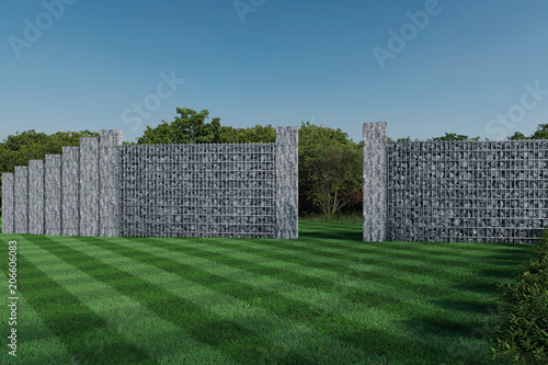 Cuadros en Lienzo 3d rendering of green garden with gabion wall and stone palisade