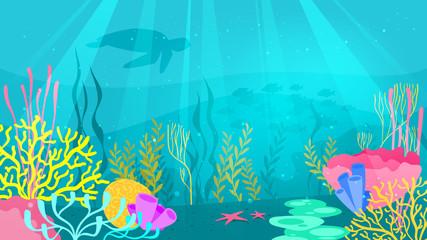 Fototapeta na wymiar underwater background with sea flora