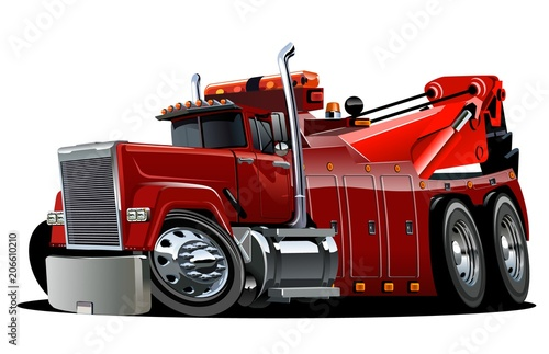 Cartoon big rig tow truck - Buy this stock vector and explore