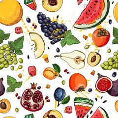 FototapetaWatermelon, cantaloupe, pomegranate, apricot, persimmon line dra