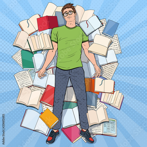 Fotobehang Pop Art Pop Art Exhausted Student Lying on the Floor among Books. Overworked Young Man Preparing for Exams. Education Concept. Vector illustration