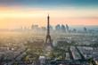 canvas print picture - Paris Skyline mit Eiffelturm und La Defense bei Sonnenuntergang