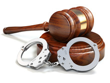 Gavel And Handcuffs Isolated O...