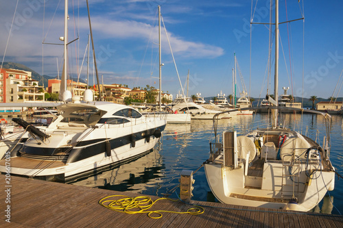 Foto op Canvas Venice Yacht marina. Montenegro, Bay of Kotor, view of Porto Montenegro in Tivat city