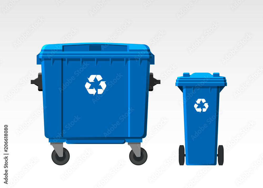 Fototapeta Set of recycle bins isolated on white background. Flat style. Vector.