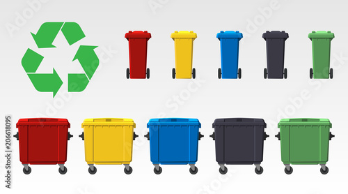Fototapety, obrazy: Different colors recycle bins isolated on white background. Flat style. Vector.