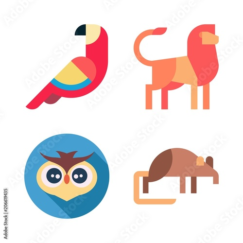 Fotografie, Obraz  Icons Animal with lion, owl, shrew and parrot