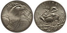 United States Coin Half Dollar 2008, Bald Eagle In Front Of American Flag, Two Nestlings And An Egg In Nest,