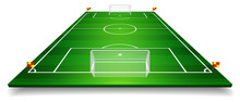 Perspective Vector Illustration Of Football Field, Soccer Field. Vector EPS 10. Room For Copy