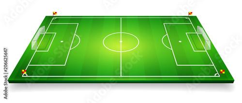Perspective vector illustration of football field, soccer field Canvas Print