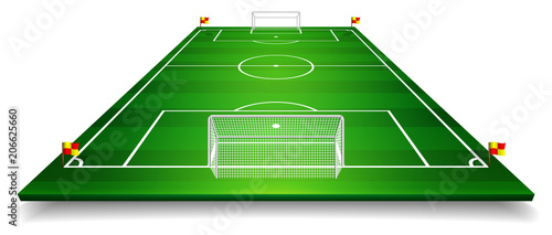 Obraz Perspective vector illustration of football field, soccer field. Vector EPS 10. Room for copy - fototapety do salonu