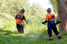 Two Landscapers Men Workers Wi...