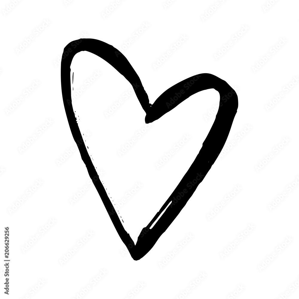 Fototapeta Black hand drawn heart on white background. Vector design element for Valentine's day.