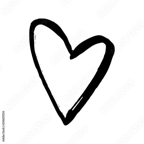 Black hand drawn heart on white background. Vector design element for Valentine's day.