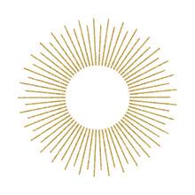 Abstract Golden Sunburst On White Background. Vintage Sun Burst Design Element. Geometric Shape, Light Ray. Vector Illustration.