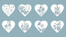 Set Stencil Hearts With Tulip,...