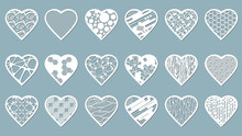 Set Stencil Hearts With Carved...