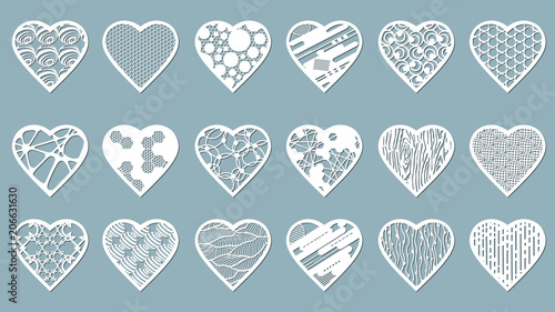 Valokuva  Set stencil hearts with carved pattern