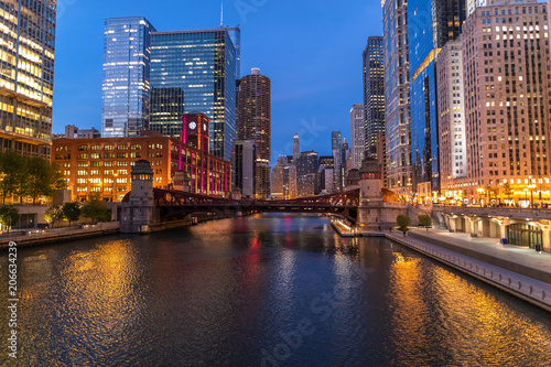 Poster Chicago Chicago evening downtown skyline buildings river