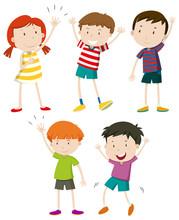 A Set Of Kids Waving