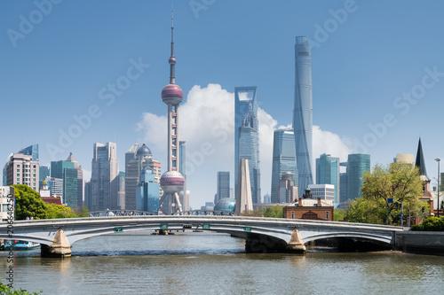 Montage in der Fensternische Shanghai shanghai scenery on suzhou river