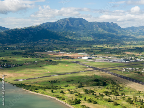 Aerial Landscape View of the Mountain Tropical Coastline