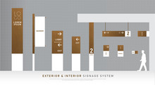 Exterior And Interior Signage Wooden Concept. Direction, Pole, Wall Mount And Traffic Signage System Design Template Set. Empty Space For Logo, Text, White And Wood Corporate Identity