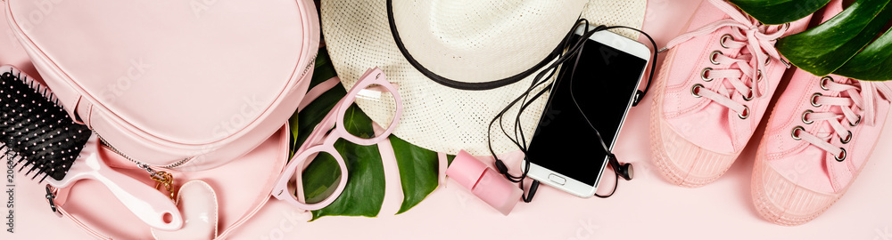 Fototapety, obrazy: Flat lay with trendy accessories