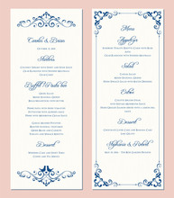 Ornate Wedding Menu Card. Swirl Floral Template. Classic Vintage Design.