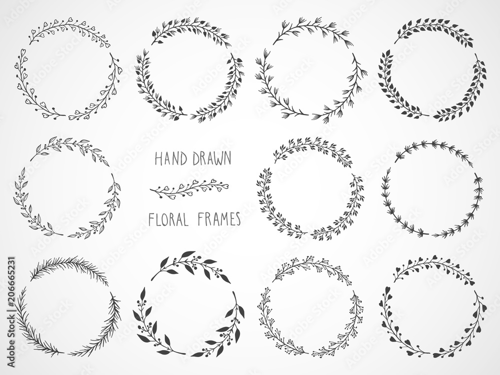 Fototapety, obrazy: Vector set of floral hand drawn round frames.