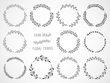 Vector Set Of Floral Hand Draw...