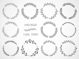 Vector set of floral hand drawn round frames.