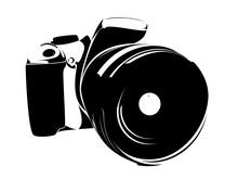 SLR Camera, Logo Black On A Wh...