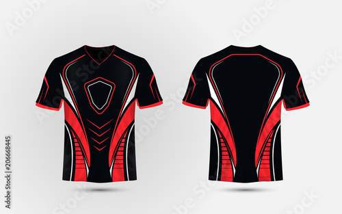 Photographie Black, Red and white layout e sport t-shirt design template