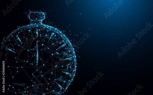 Clock form lines and triangles, point connecting network on blue background. Illustration vector