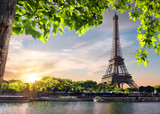 Fototapeta Fototapety z wieżą Eiffla - Sunset over Eiffel Tower