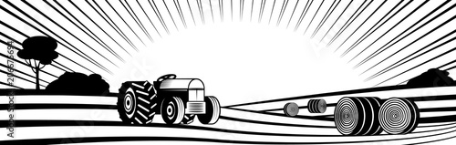 Agricultural tractor and round hay bales in rural landscape with hills and fields monochrome silhouette - transport on farmland with rows of agricultural plants. Vector illustration of countryside.