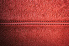 Closeup Red Leather With Sewing Seam For Background