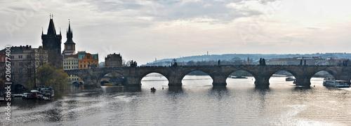 Staande foto Praag Panorama of the Charles Bridge in Prague.