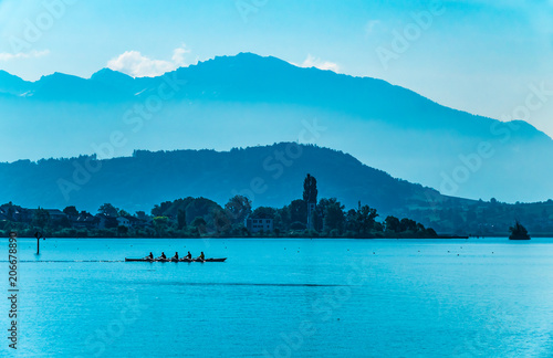 Fotografie, Obraz  Foggy morning landscape on the shores of the Obersee (Upper Lake Zurich) , Switz