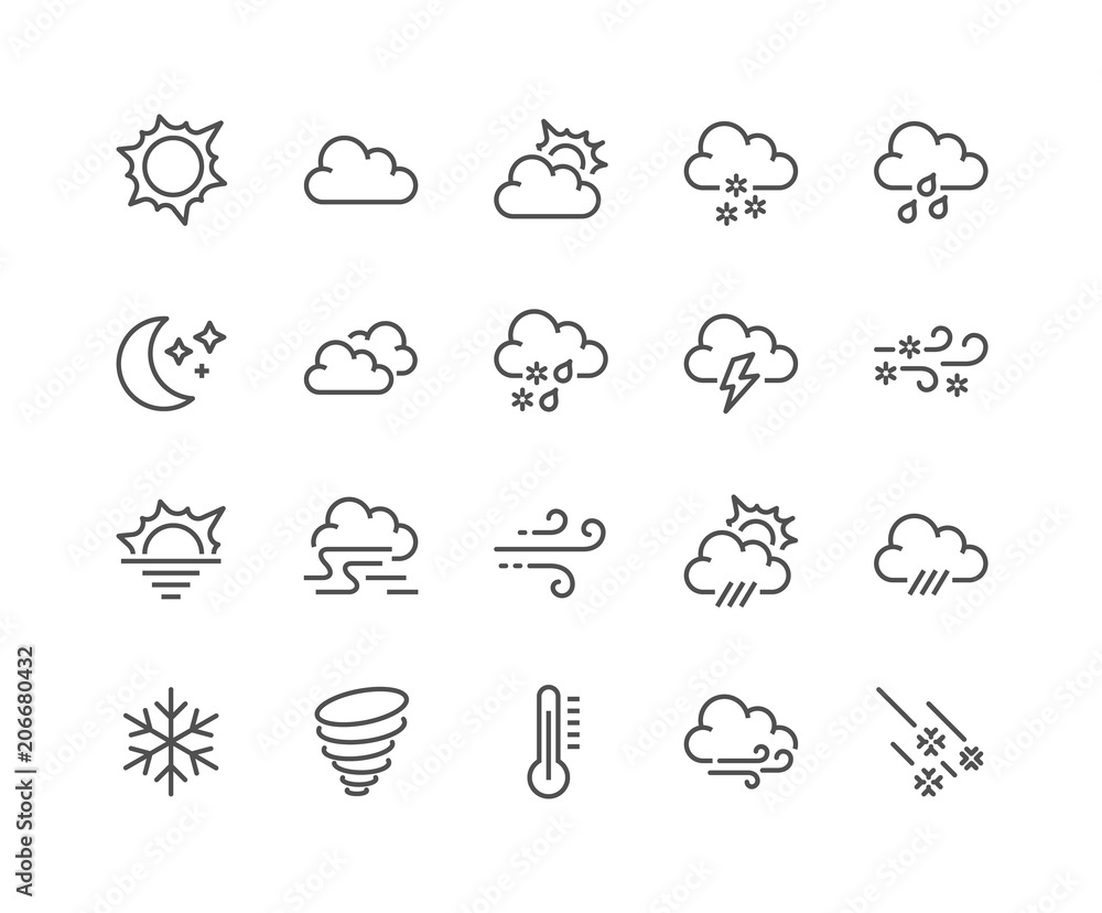 Fototapety, obrazy: Simple Set of Weather Related Vector Line Icons. Contains such Icons as Wind, Blizzard, Sun, Rain and more. Editable Stroke. 48x48 Pixel Perfect.
