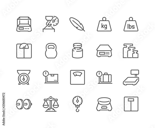 Photo Simple Set of Weight Related Vector Line Icons