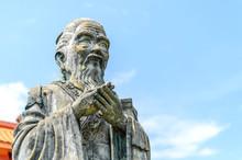 Closeup Old Statue Of Confuciu...