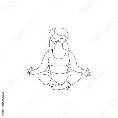 Hand Drawn Plump Obese Girl Meditate In Lotus Posture In Sport